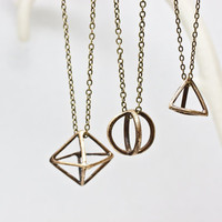 Geometric Brass Tetrahedron Pendant Necklace