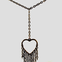 "Brass and Bronze Heart Necklace: ""Y"" Choker with Dangles"