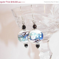 Holiday SALE Beautiful Beads from the Sea Blow glass Earring Cyber Monday SALE
