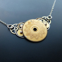 Watch Gear Necklace Sunrise Elegant Recycled by amechanicalmind