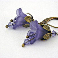 Lavender bell lucite flowers brass earrings by TyssHandmadeJewelry