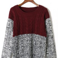 Color Block Cable Knit Sweater in Red - Retro, Indie and Unique Fashion