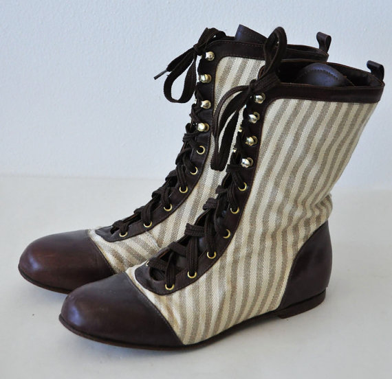 Vintage laceup brown leather striped canvas boots 8 by lethilogica