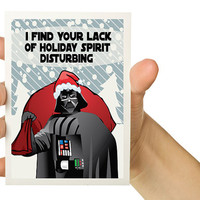Cyber Monday Etsy- Free Shipping - 6X Holiday Greeting Card Set -  Darth Vader - Star Wars - 5 x 7 - Geekery - Nerd - Sci Fi - Geek Card