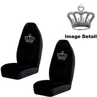Amazon.com: Crown Gem Crystal Studded Rhinestone Bling Car Truck SUV Front High Back Bucket Seat Covers - Pair: Automotive
