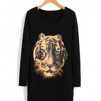 Black Longline Loose Cotton T-shirt with Tiger Print