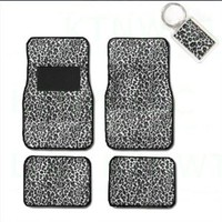 A Set of 4 Universal Fit Animal Print Carpet Floor Mats for Cars / Truck and 1 Key Fob - Cheetah White : Amazon.com : Automotive