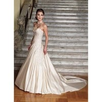 Slim A-line Sweetheart Beaded Applique Satin Wedding Dress - Star Bridal Apparel