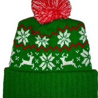 Amazon.com: Green Reindeer Snowflake Winter Beanie Pom Hat Cap Ugly X Mas Sweater: Clothing