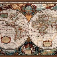 Amazon.com: 17th Century World Map (Antique) Art Poster Print - 24x36 Poster Print, 36x24 Poster Print, 36x24: Home & Kitchen