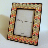 5x7 Wood Photo Frame Cute Flower Print