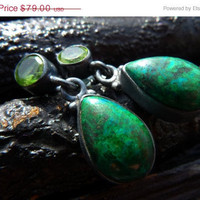 30 PERCENT OFF SALE Peridot Chrysocolla Earrings by by BeijoFlor
