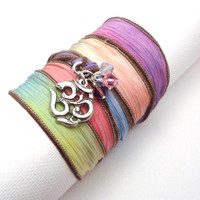 Hand Dyed Silk Ribbon Bracelet with Om by charmeddesign1012