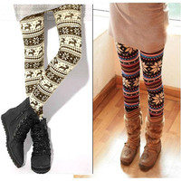 Knitted Colorful Crystal Pattern Leggings Tights Pants Casual Comfortable #163