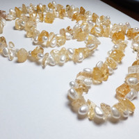 Citrine and Freshwater Pearl Beadwork Necklace