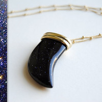 Blue Goldstone Necklace  Dark Blue / Black Glass by SPARKLEFARM