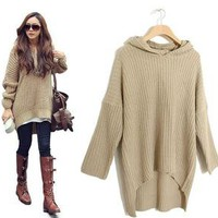 Popular Korean Womens Loose Long Irregular Hem Hooded Sweater Fashion Outerwear