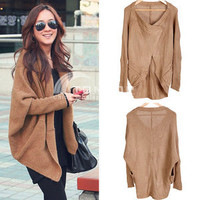 Women's Tops Batwing Sleeves Knit Sweater Cape Ladies Coat Cardigan Brown