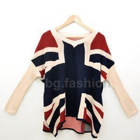 Womens Fashion Vintage Batwing UK Flag Union Jack Knitwear Sweater Top 2 COLORS