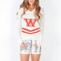 Wildfox Cheerleader Hooded Cropped Billy Loose Knit Sweater