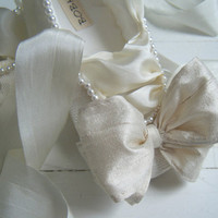 Bride Wedding Ivory Pearl Ballet Flats Custom Shoes by BobkaBaby