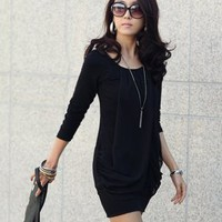 Vogue Chiffon Splicing Cotton Black Dresses : Wholesaleclothing4u.com