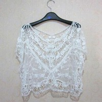 Hot Sale Women Lace Sweet Hollow Out Crochet Knit Loose Blouse Tops 3 Colors