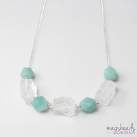 Amazonite Necklace, Chunky Quartz Necklace, Clear Quartz Necklace, Amazonite and Quartz Jewelry, Chunky Gemstone Necklace