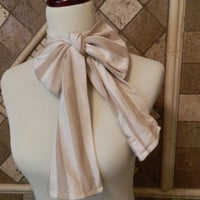 Women's Neck Bow, Bow Tie, Ascot, 4 in 1 Cream, Taupe, Stripes, Fall Fashion All in One Sash