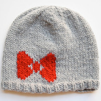 Made To Order  - Knit Intarsia Bow Hat, Grey Hat with Red Bow