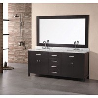 "Design Element London 72"" Double Sink Vanity Set - DEC076B - Bathroom Vanities - Bathroom Fixtures - Bed & Bath"