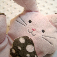 "Bunny Rabbit Pink Plush Softie ""Flat Little Bunny Rabbit"""