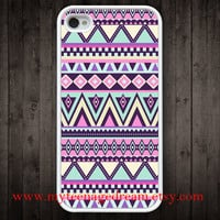 iphone 4 case, iPhone 4s Case, iphone case 4s, Aztec Pattern Print iphone white hard case for iphone 4, iphone 4S