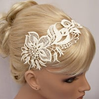 Orchid  lace headband ivory