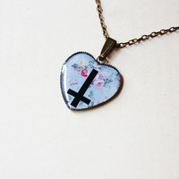 Cross Of St. Peter (Inverted Cross) On Retro Floral Fantasy- Handmade Vintage Cameo Pendant Necklace
