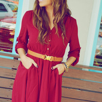 Sweet And Simple Dress: Burgundy | Hope&#x27;s