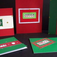 Jingle Bells Christmas Note Cards - Set of 5 - Red & Green - Envelopes included