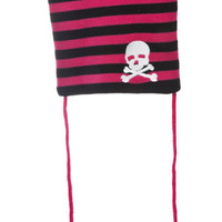 Black & Hot Pink Stripe Skull Pom Pom Beanie
