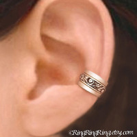 Set of 3 - 925. Engraved sterling silver ear cuff earring jewelry, non pierced for men and women (Matte or Shine) 092612