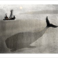 Whale and a Boat large size by yoote on Etsy