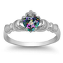 Claddagh ring Rainbow Mystic Topaz Sterling Silver size 3 4 5 6 7 8 9 10 11 12 CZ Irish St. Patrick's Day