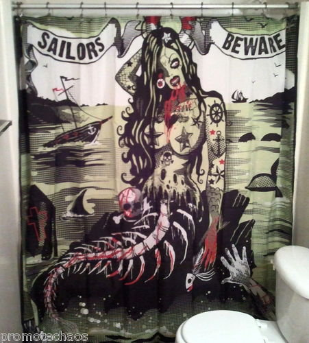 SAILORS BEWARE SHOWER CURTAIN Zombie Tattoos Mermaid Black Green ...