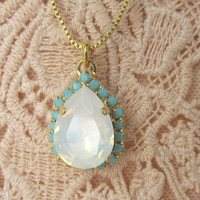 Cyber Monday sale - White opal and turquoise crystal Swarovski teardrop pendant necklace, Bridal necklace, Teardrop pendant, Gold necklace