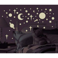 258 GLOW IN THE DARK Celestial Wall Ceiling Decals Stars Planets Space Stickers