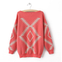 Geometric Diamond Pattern Sweater Red S005700, Sweater, Geometric Diamond Pattern Sweater Red, Chic by ClothLess