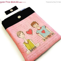 BLACK FRIDAY SALE 30% off Padded iPad Case - You and Me, iPad sleeve, iPad Cover, Unique Design fabric printing