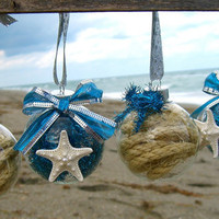 Starfish Christmas Ornaments-SET OF 4-Deep Aqua Blue, Starfish Christmas, Beach Holidays, Coastal Ornaments, Mermaids, Ornaments, Seaside
