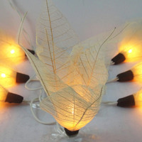 20 White Bodhi Leave Flower Fairy Lights String 3.5M Home Accent Floral Decor