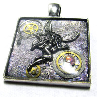 Frosted Purple Steampunk Fairy Silver Tone Resin Pendant