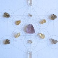 WALL ART Feng Shui Crystal Healing Grid Sacred Geometry Amethyst Citrine Smoky Quartz